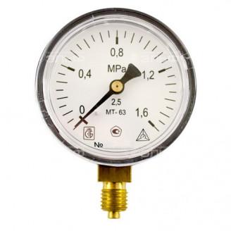 Манометр МТ 63П 1,6МПа метрическая резьба - М12х1.5