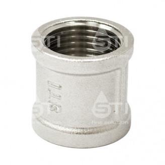 Муфта  латунная 15 мм 1/2 прямая внутренняя резьба никелированная