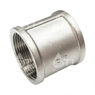 Муфта  латунная 40 мм 1 1/2 прямая внутренняя резьба никелированная