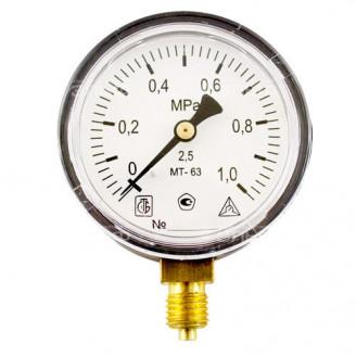 Манометр МТ 63П 1,0 МПа метрическая резьба - М12х1.5